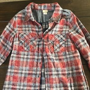 Plaid button-up shirt with denim accents